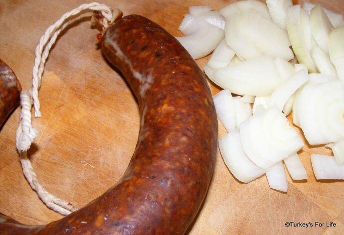 Making Turkish Sucuk Casserole