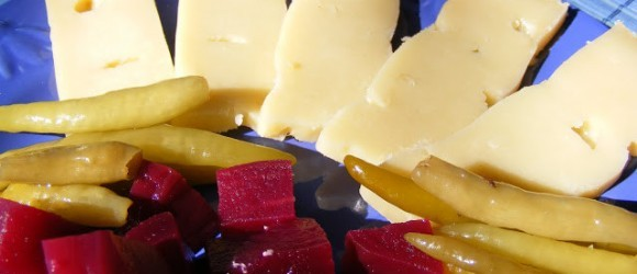 Kars Gravyer Cheese With Pickled Chillies And Beetroot