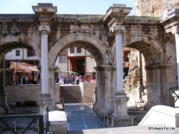Üç Kapı or Hadrian's Gate in Antalya, Turkey
