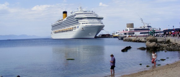 Cruise Ship In Rhodes Mandraki Harbour