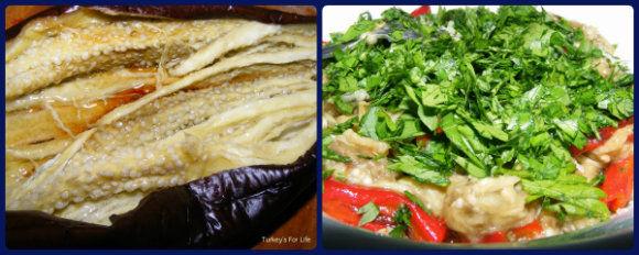 Making Aubergine Salad