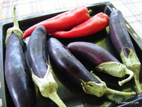 Roasting Aubergines And Peppers