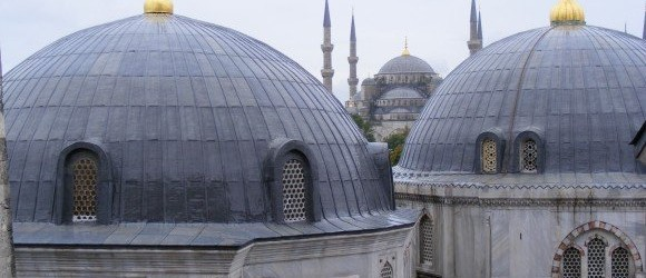 Blue Mosque from Aya Sofya, Istanbul, Turkey