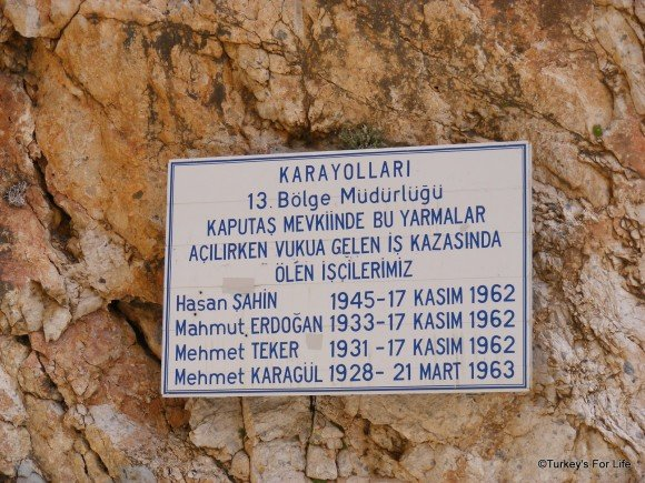 Commemorative Plaque, Kaputaş Beach