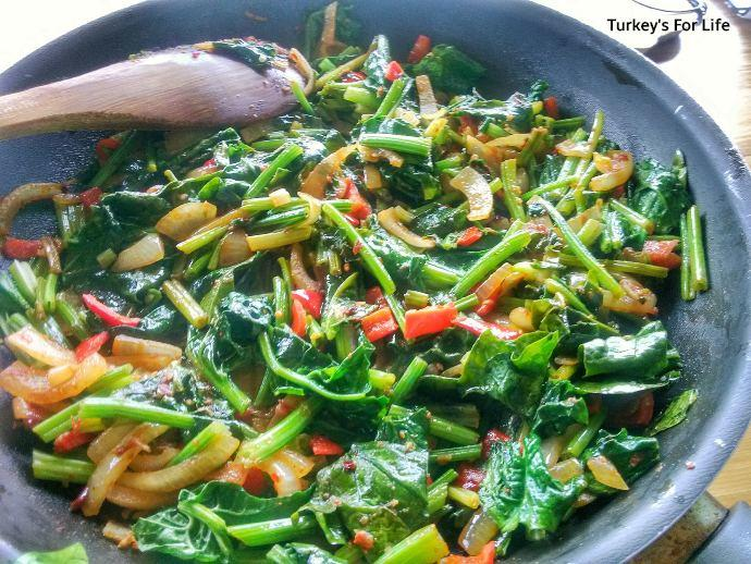 Sauteed Spinach Stems