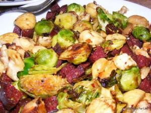 Brussels Sprouts With Sucuk and Chestnuts