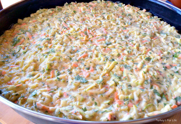 Potato And Courgette Mixture Ready For The Oven