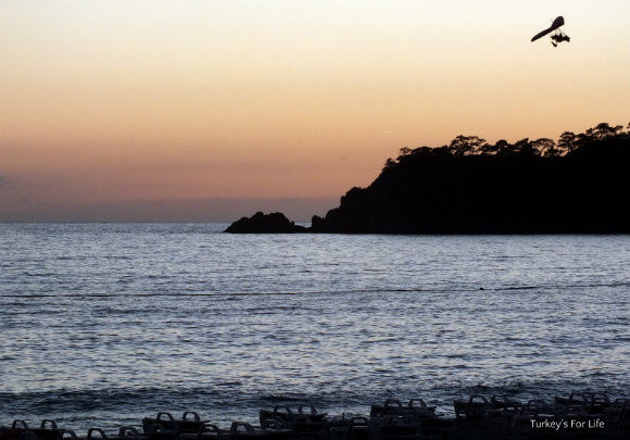 Microlight At Sunset