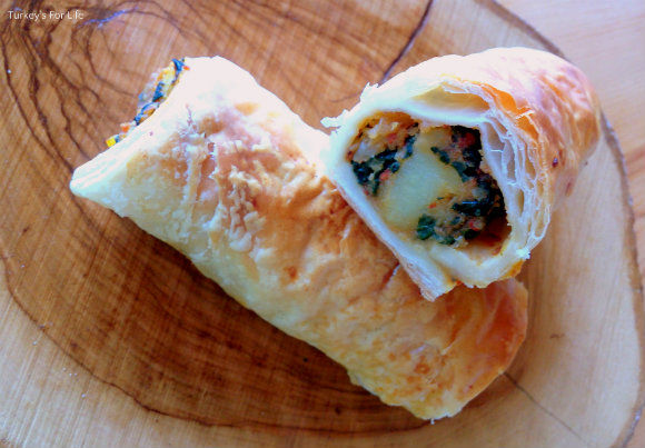 Yummy Spinach And Potato Puff Pastry Roll